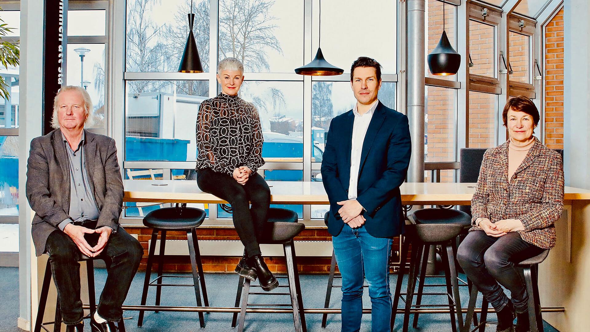 DalaCapital - Startkapital till ditt bolag. Kjell Grundström, Angelica Ekholm (ordförande), Anders Hjertberg och Birgitta Sacrédeus - investerande bolag i DalaCapital AB.